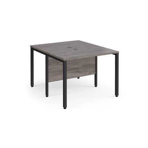 Maestro 25 back to back straight desks 1000mm x 1200mm - black bench leg frame and grey oak top
