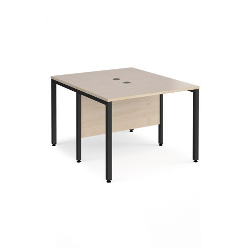Maestro 25 back to back straight desks 1000mm x 1200mm - black bench leg frame and maple top
