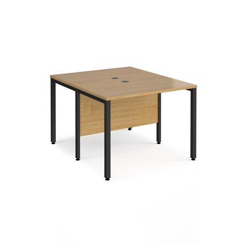 Maestro 25 back to back straight desks 1000mm x 1200mm - black bench leg frame and oak top