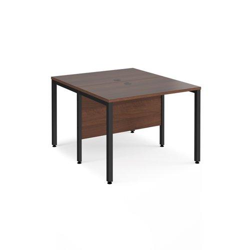 Maestro 25 back to back straight desks 1000mm x 1200mm - black bench leg frame and walnut top