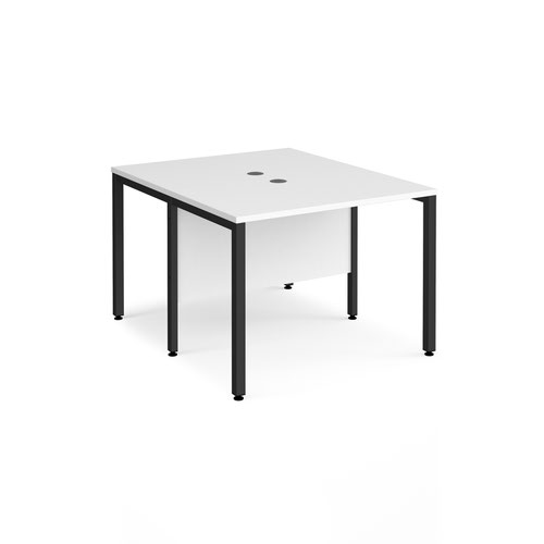 Maestro 25 back to back straight desks 1000mm x 1200mm - black bench leg frame and white top