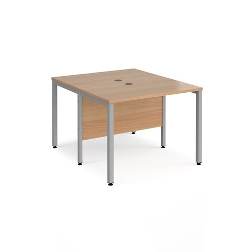 Maestro 25 back to back straight desks 1000mm x 1200mm - silver bench leg frame and beech top