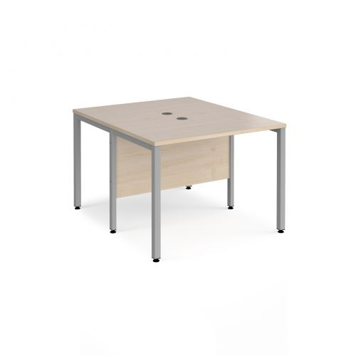 Maestro 25 back to back straight desks 1000mm x 1200mm - silver bench leg frame and maple top