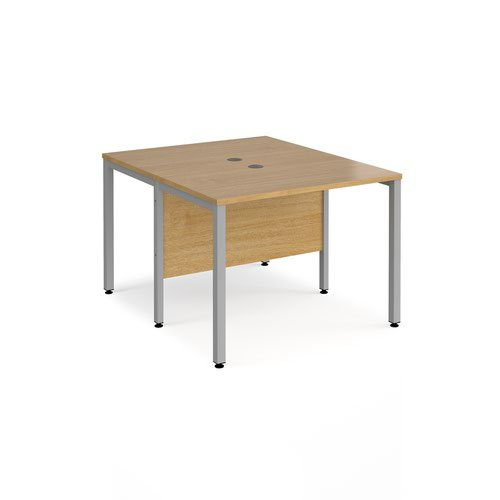 Maestro 25 back to back straight desks 1000mm x 1200mm - silver bench leg frame and oak top
