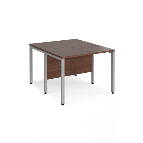 Maestro 25 back to back straight desks 1000mm x 1200mm - silver bench leg frame and walnut top