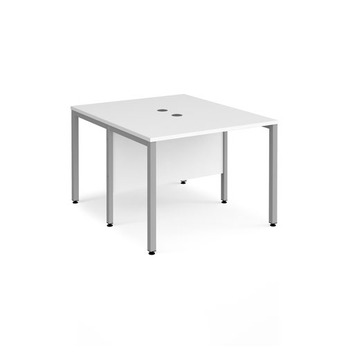 Maestro 25 back to back straight desks 1000mm x 1200mm - silver bench leg frame and white top