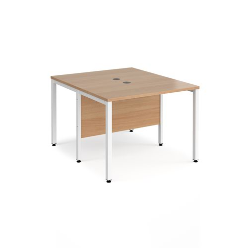 Maestro 25 back to back straight desks 1000mm x 1200mm - white bench leg frame and beech top