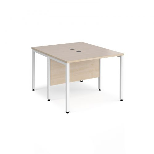 Maestro 25 back to back straight desks 1000mm x 1200mm - white bench leg frame and maple top