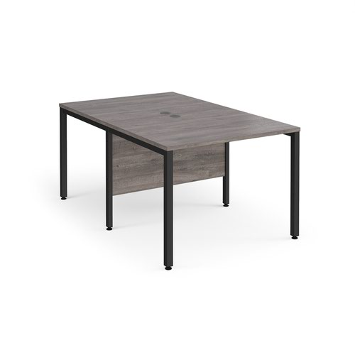 Maestro 25 back to back straight desks 1000mm x 1600mm - black bench leg frame and grey oak top