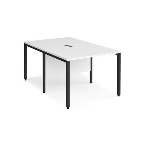 Maestro 25 back to back straight desks 1000mm x 1600mm - black bench leg frame and white top