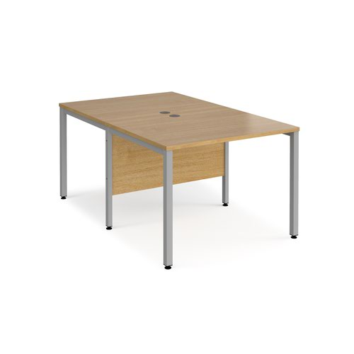 Maestro 25 back to back straight desks 1000mm x 1600mm - silver bench leg frame and oak top