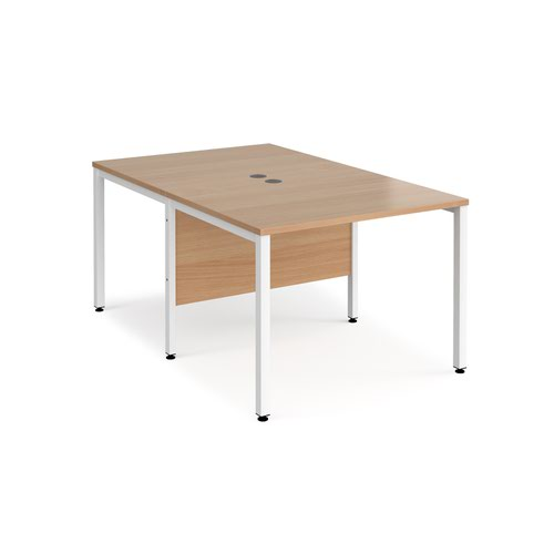 Maestro 25 back to back straight desks 1000mm x 1600mm - white bench leg frame and beech top