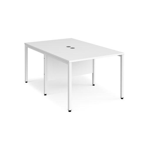 Maestro 25 back to back straight desks 1000mm x 1600mm - white bench leg frame and white top