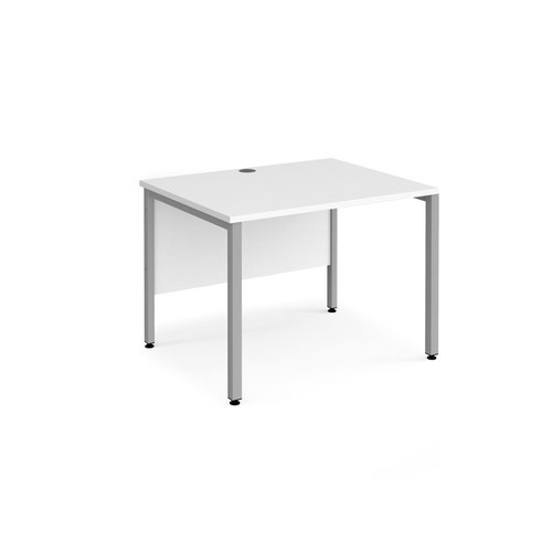 Maestro 25 straight desk 1000mm x 800mm - silver bench leg frame and white top