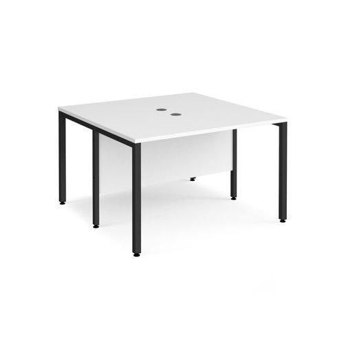 Maestro 25 back to back straight desks 1200mm x 1200mm - black bench leg frame and white top