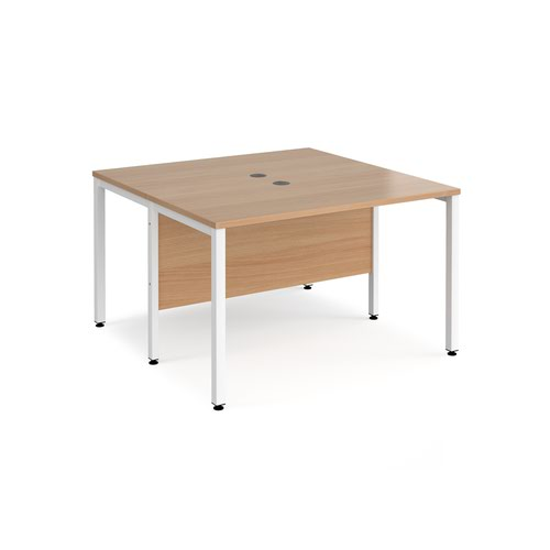 Maestro 25 back to back straight desks 1200mm x 1200mm - white bench leg frame and beech top