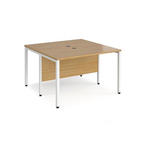 Maestro 25 back to back straight desks 1200mm x 1200mm - white bench leg frame and oak top