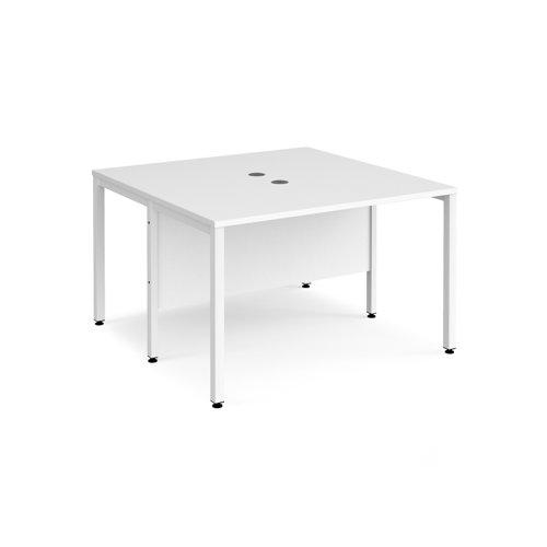 Maestro 25 back to back straight desks 1200mm x 1200mm - white bench leg frame and white top