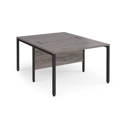 Maestro 25 back to back straight desks 1200mm x 1600mm - black bench leg frame and grey oak top