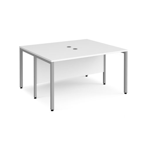 Maestro 25 back to back straight desks 1400mm x 1200mm - silver bench leg frame and white top