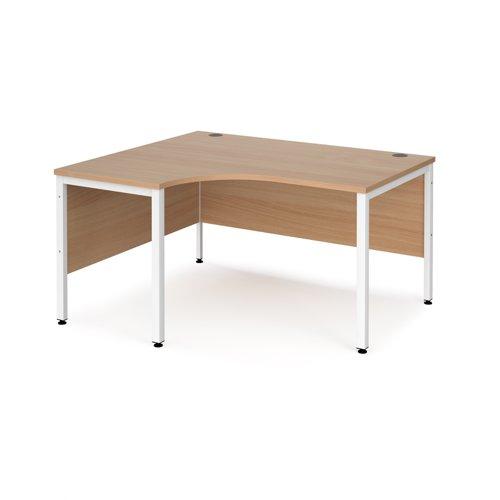 Maestro 25 left hand ergonomic desk 1400mm wide - white bench leg frame and beech top