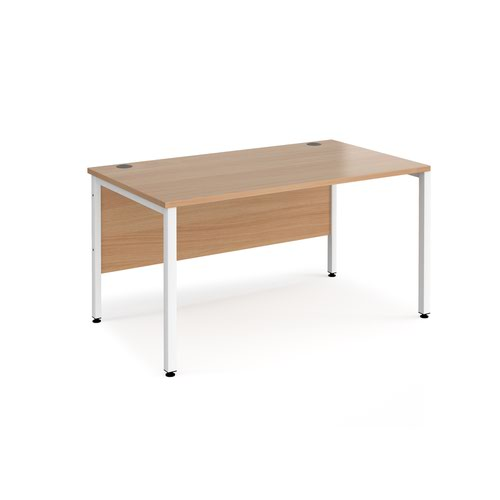 Maestro 25 straight desk 1400mm x 800mm - white bench leg frame and beech top