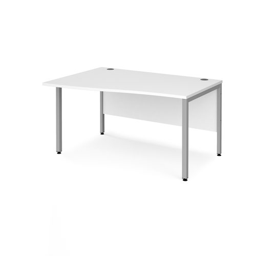 Maestro 25 left hand wave desk 1400mm wide - silver bench leg frame and white top