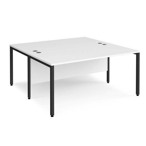 Maestro 25 back to back straight desks 1600mm x 1600mm - black bench leg frame and white top