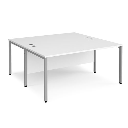 Maestro 25 back to back straight desks 1600mm x 1600mm - silver bench leg frame and white top