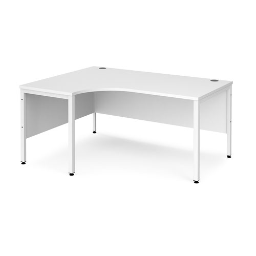 Maestro 25 left hand ergonomic desk 1600mm wide - white bench leg frame and white top