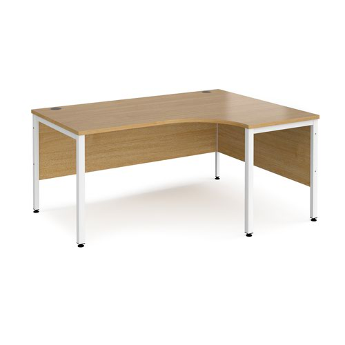 Maestro 25 right hand ergonomic desk 1600mm wide - white bench leg frame and oak top