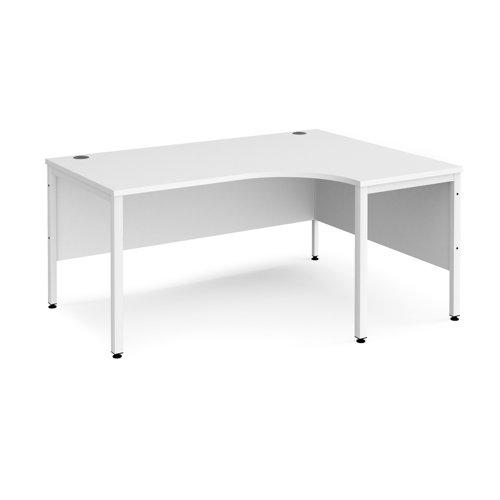 Maestro 25 right hand ergonomic desk 1600mm wide - white bench leg frame and white top
