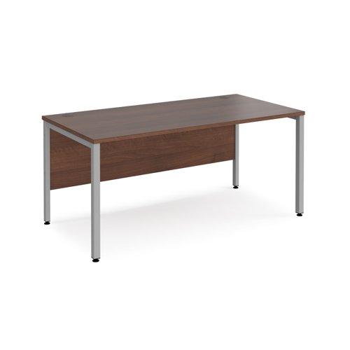 Maestro 25 straight desk 1600mm x 800mm - silver bench leg frame and walnut top