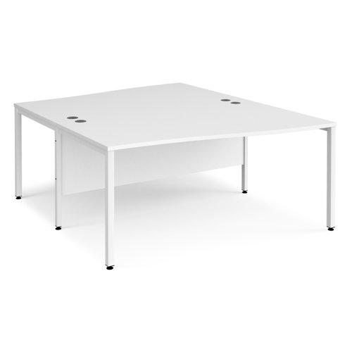 Maestro 25 back to back wave desks 1600mm deep - white bench leg frame and white top