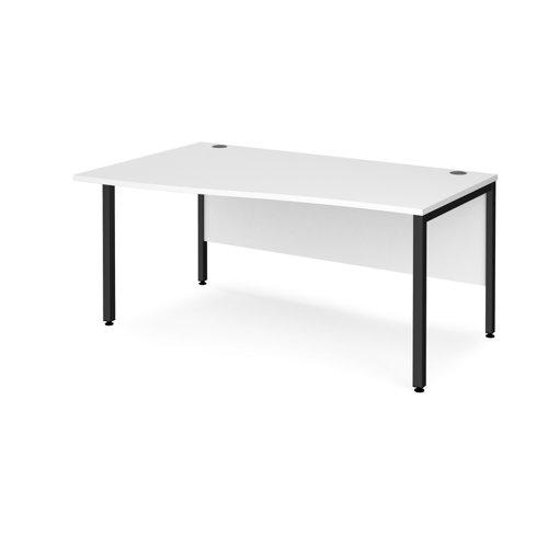 Maestro 25 left hand wave desk 1600mm wide - black bench leg frame and white top