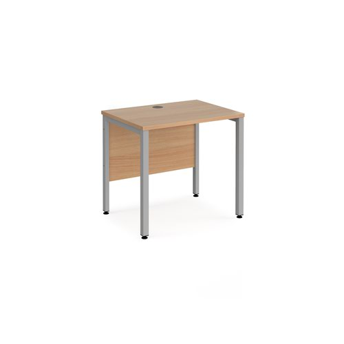 Maestro 25 straight desk 800mm x 600mm - silver bench leg frame and beech top