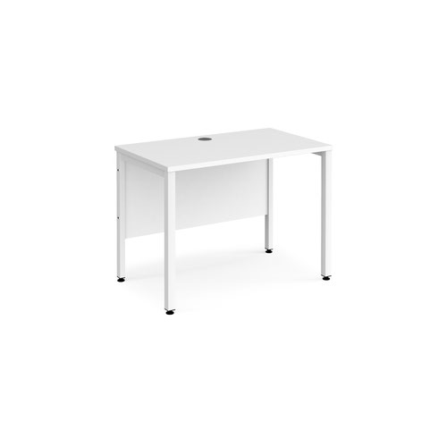 Maestro 25 straight desk 1000mm x 600mm - white bench leg frame and white top
