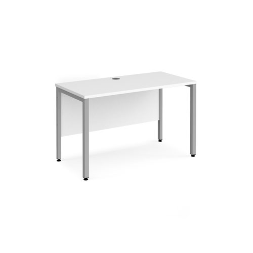 Maestro 25 straight desk 1200mm x 600mm - silver bench leg frame and white top