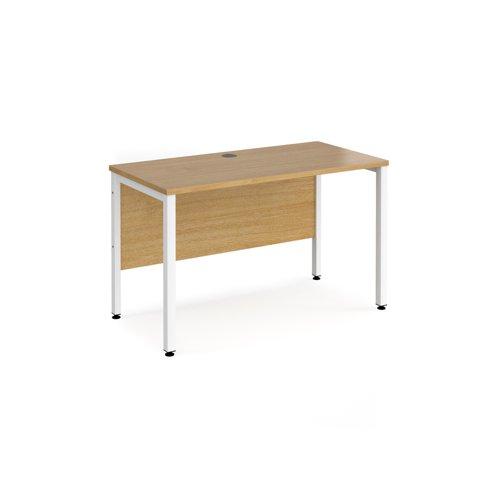 Maestro 25 straight desk 1200mm x 600mm - white bench leg frame and oak top