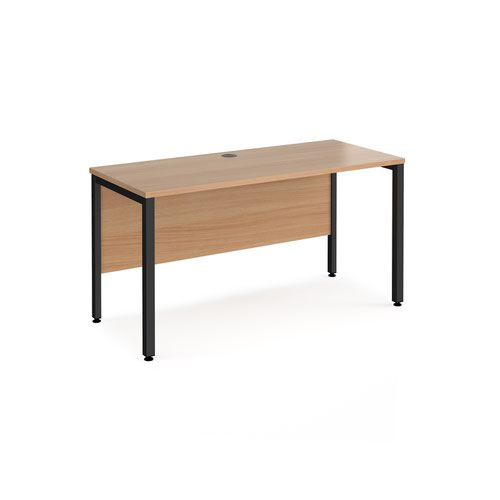 Maestro 25 straight desk 1400mm x 600mm - black bench leg frame and beech top