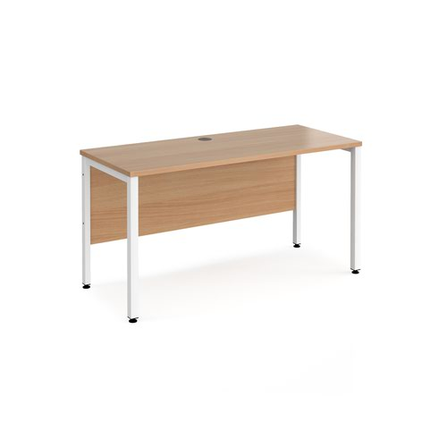 Maestro 25 straight desk 1400mm x 600mm - white bench leg frame and beech top