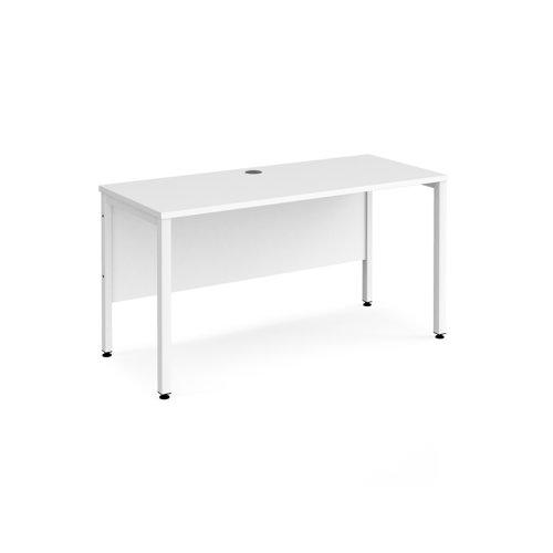 Maestro 25 straight desk 1400mm x 600mm - white bench leg frame and white top