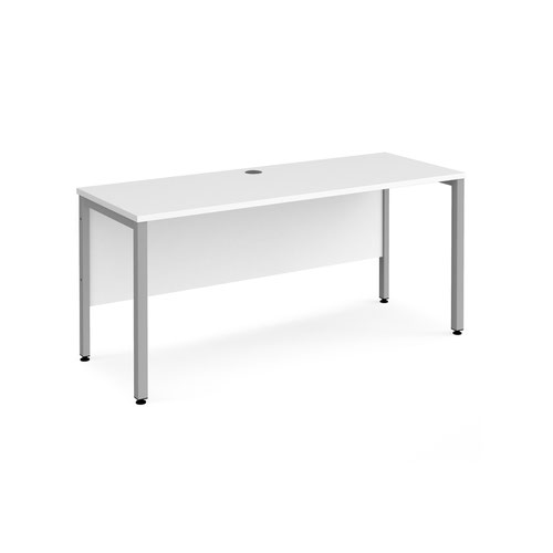 Maestro 25 straight desk 1600mm x 600mm - silver bench leg frame and white top
