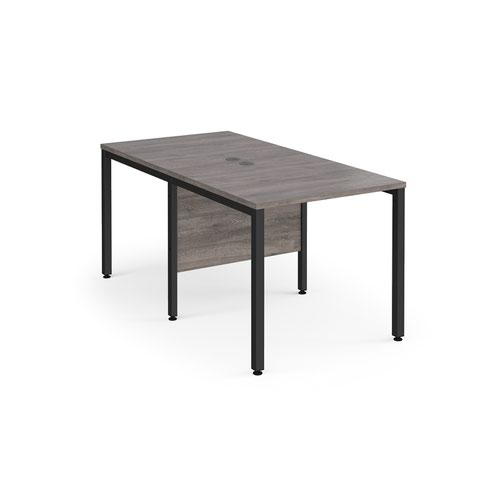 Maestro 25 back to back straight desks 800mm x 1600mm - black bench leg frame and grey oak top