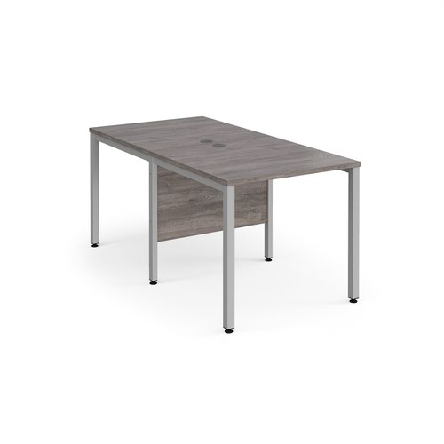 Maestro 25 back to back straight desks 800mm x 1600mm - silver bench leg frame and grey oak top