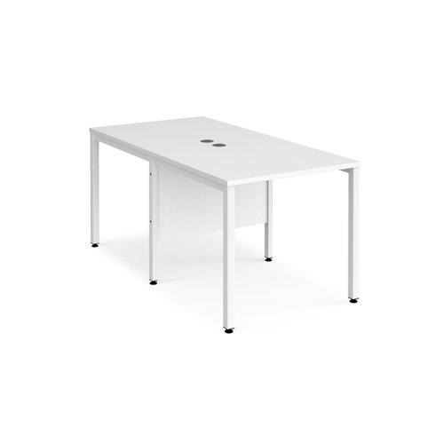 Maestro 25 back to back straight desks 800mm x 1600mm - white bench leg frame and white top