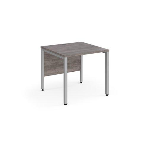 Maestro 25 straight desk 800mm x 800mm - silver bench leg frame and grey oak top