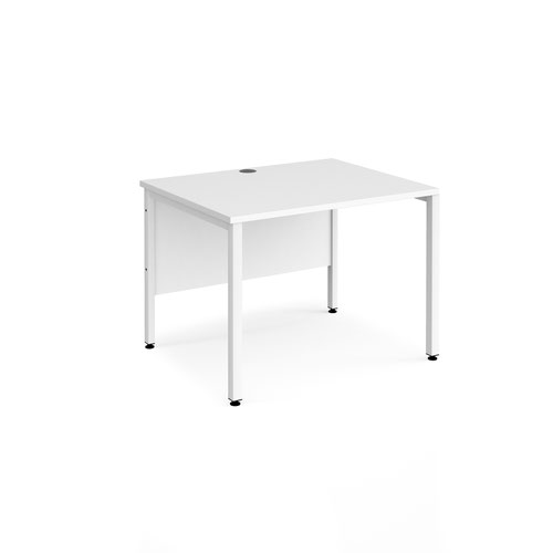 Maestro 25 straight desk 800mm x 800mm - white bench leg frame and white top