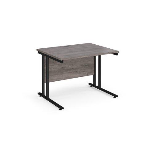 Maestro 25 straight desk 1000mm x 800mm - black cantilever leg frame and grey oak top