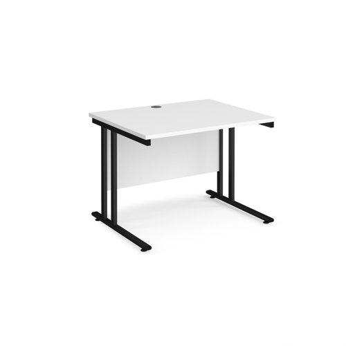 Maestro 25 straight desk 1000mm x 800mm - black cantilever leg frame and white top